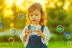 Girl with bubbles Royalty Free Stock Photos