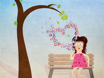 Girl with bubbles grunge background Royalty Free Stock Photography