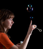 Girl with bubles Stock Photos