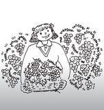 Girl with bucket of cherries. Illustration of young smiling girl holding a bucket of cherries and surrounded by cherry trees vector illustration