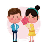 Girl with bucket flowers and boy. Vector illustration eps 10 Stock Photo