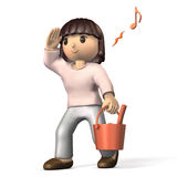 Girl with a bucket. Stock Photo