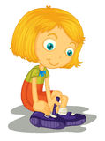 Girl buckles shoes. Illustration of girl with shoes Royalty Free Stock Photo