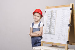 Girl Builder is drawing near Royalty Free Stock Photography