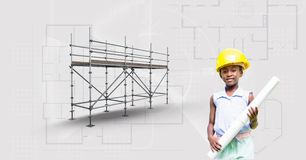 Girl with builder hat and blueprint beside 3D scaffolding Stock Image
