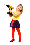 Girl  builder with screwdriver Royalty Free Stock Photos