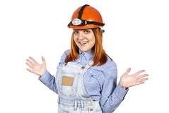 Girl in the builders hard hat Stock Photography