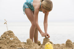 Girl Building Sand Castle Royalty Free Stock Photography