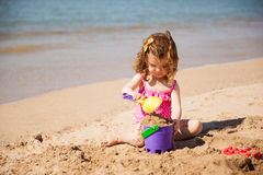 Girl building a sand castle Royalty Free Stock Photography