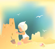 Girl building sandcastle. Vector illustration of a girl building sandcastle Royalty Free Stock Photo