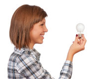 Girl with bulb Royalty Free Stock Photos
