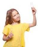 Girl with bulbs Stock Image