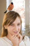 Girl and bullfinch Stock Photography