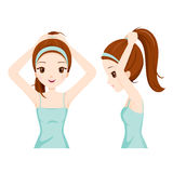 Girl Bun Her Hair, Front And Side View. Coiffure Hairdressing Beauty Hairdo Lifestyle Fashion vector illustration