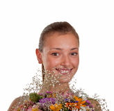 Girl with a bunch of flowers Stock Photo