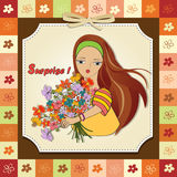 Girl with a bunch of flowers Royalty Free Stock Images