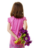 Girl with bunch of flowers Stock Images