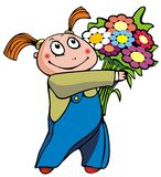 Girl with bunch of flowers Stock Photos