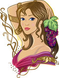 Girl with a bunch of grapes Stock Photography