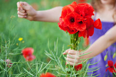 Girl with a bunch of red poppies Royalty Free Stock Photos