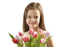 Girl with bunch of tulips Royalty Free Stock Photo