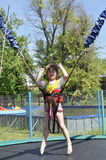 Girl on the bungee. Stock Photo