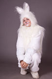 Girl bunny Stock Images