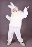Girl bunny. A girl in a white suit, hare, rabbit. white background. studio photography Stock Photo