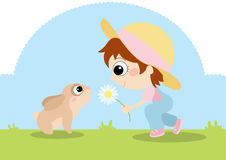 Girl with Bunny. Digital illustration of a little girl making friends with a cute rabbit Stock Photography