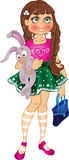 Girl with bunny and bag stock photos