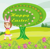 Girl in bunny costume- funny easter design Stock Images