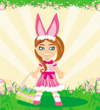 Girl in bunny costume Stock Image