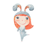Girl in a bunny costume. Watercolor illustration  on white background Royalty Free Stock Image