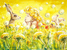 Girl and bunny. Cute girl with bunny on a dandelion meadow. Picture created with watercolors Stock Image