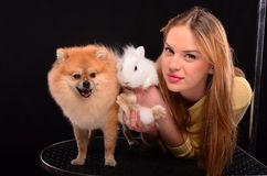 Girl, bunny and dog Stock Photo