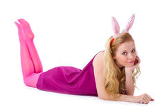 Girl with bunny ears Stock Photos
