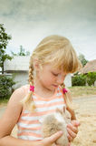 Girl and bunny pet Royalty Free Stock Image