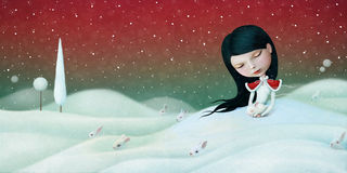 Girl and Bunny. Winter illustration or poster or greeting card with little girl and bunny. Computer graphics Royalty Free Stock Photo