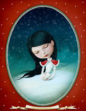 Girl and Bunny. Winter illustration or poster or greeting card with little girl and bunny , vintage oval frame. Computer graphics vector illustration