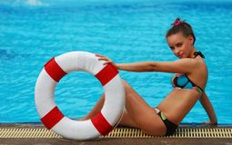 Girl with buoy Stock Photo