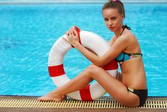 Girl with buoy Stock Photography