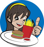 Girl with burger and french fries Stock Images