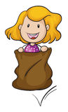 A girl and a burlap. Illustration of a girl and a burlap on a white background stock illustration