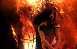 Girl burning building Stock Photography