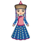 The girl in Buryat dress. Historical clothes Royalty Free Stock Photo