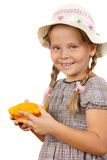 Girl with bush pumpkins Stock Image