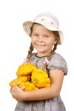 Girl with bush pumpkins Royalty Free Stock Photo