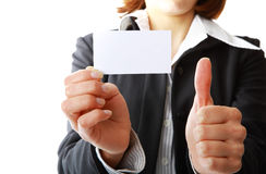 Girl with business card. Image of a girl showing business card in his hand Stock Photography