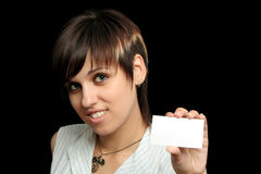 Girl with a business card Royalty Free Stock Images
