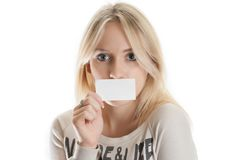 Girl with the business card Royalty Free Stock Photo